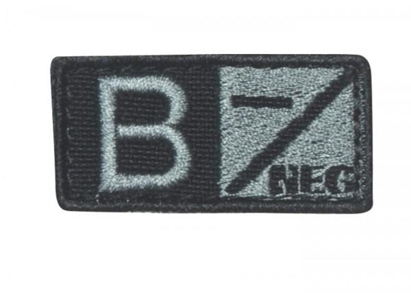 Blutgruppenpatch Grau/Schwarz B neg - 229B-007