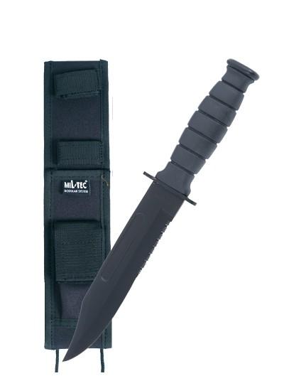 Mil-Tec Kampfmesser Army mit Scheide Schwarz
