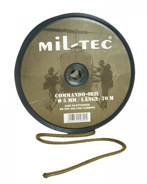 Commando Seil 5 mm Coyote - 70 Meter Rolle