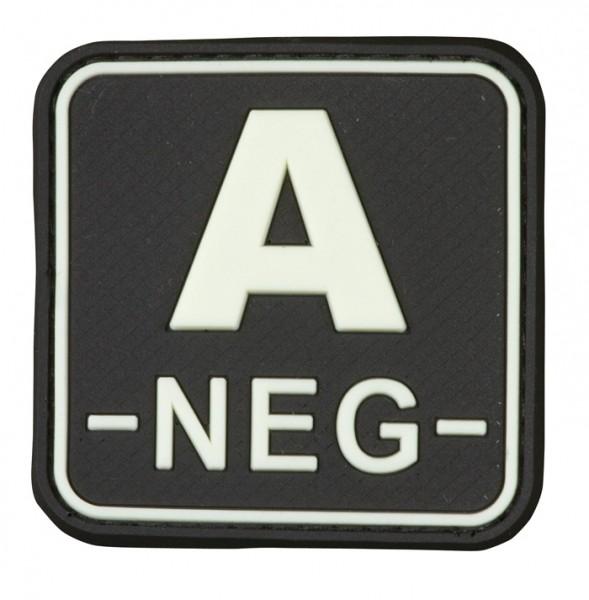 3D Blutgruppenpatch 50x50 schwarz/glow A neg -
