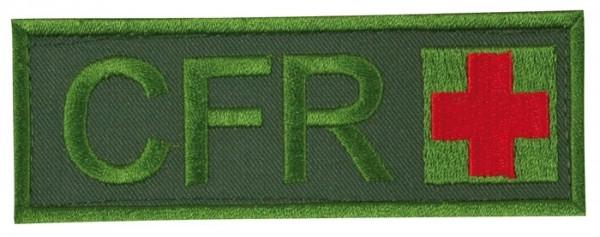 Schriftzug CFR mit Kreuz Oliv/Rot auf Klett