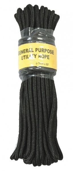 Commando Seil Schwarz 15 Meter - 7 mm Durchmesser