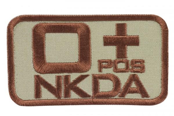 Blutgruppenkennzeichnung Sand/Braun NKDA 0 pos +