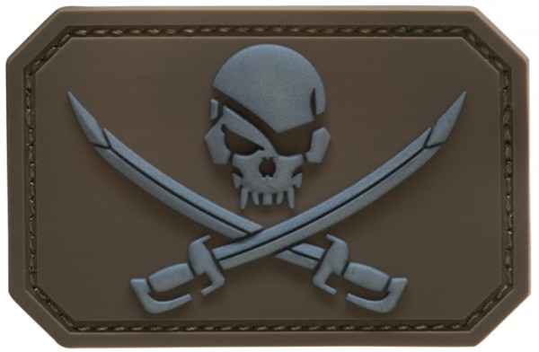 3D Rubber Patch Skull with Swords