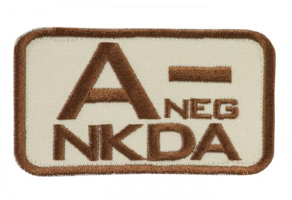 Blutgruppenkennzeichnung Sand/Braun NKDA A neg -