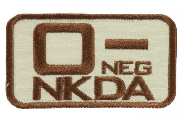 Blutgruppenkennzeichnung Sand/Braun NKDA 0 neg -