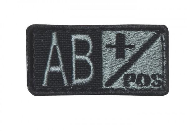 Blutgruppenpatch Grau/Schwarz AB pos + 229AB+007