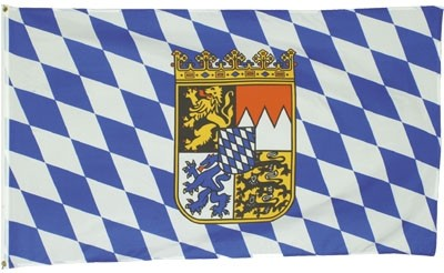 Flagge BL Bayern Blaue/Weisse Rauten mit Wappen