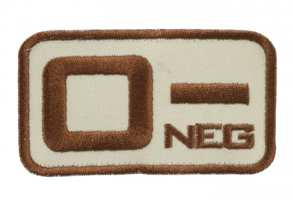 Blutgruppenkennzeichnung Sand/Braun 0 neg -