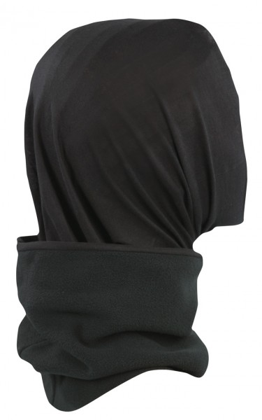Fleece Rundschal mit Kopfüberzug Schwarz