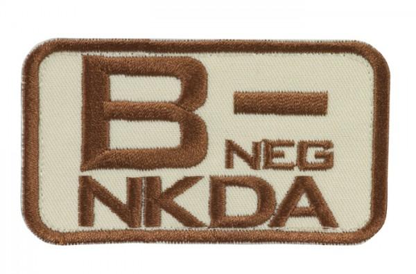 Blutgruppenkennzeichnung Sand/Braun NKDA B neg -