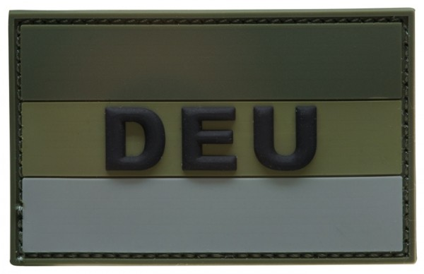 "3D Rubber Patch Deutschlandflagge ""DEU"" Oliv Large"
