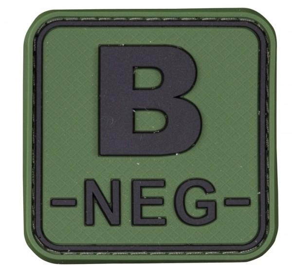 3D Blutgruppenpatch 50x50 Grün/Schwarz B neg -